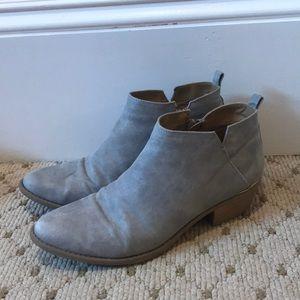 Textured gray leather booties with block heel